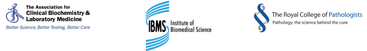 Making Sense of Screening partner logos: The Association of Clinical Biochemistry and Laboratory Medicine, Institute of Biomedical Science, Royal College of Pathologists