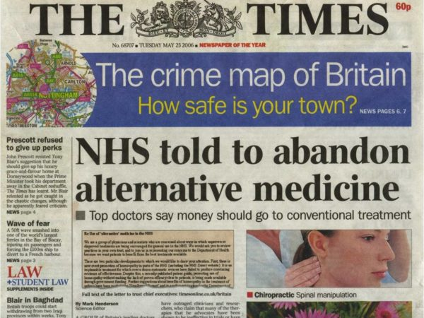 Photograph of the front cover of The Times newspaper with headline 'NHS told to abandon alternative medicine'