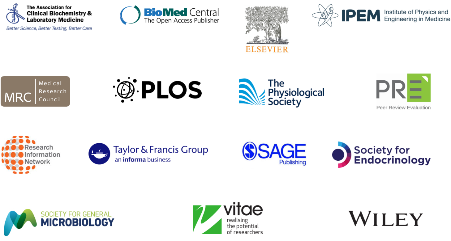 Logos of Peer Review: the nuts and bolts partners. Association for Clinical Biochemistry and Labratory Medicine, BioMed Central, Elsevier, IPEM, MRC, PLOS, The Physiological Society, PRE, Research Information Network, Taylor & Francis, Sage, Society for Endocrinology, Society for General Microbiology, Vitae, Wiley