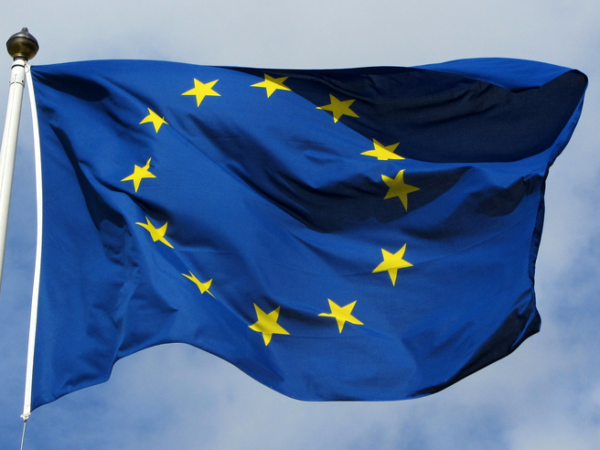 Photograph of EU flag on pole in the breeze