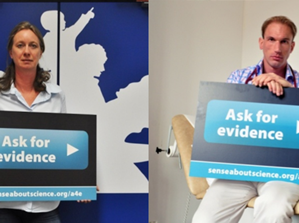 Collage of images of people holding 'Ask for Evidence' signs