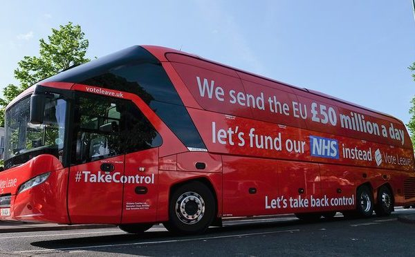 photograph of the bus used in Brexit's campaign