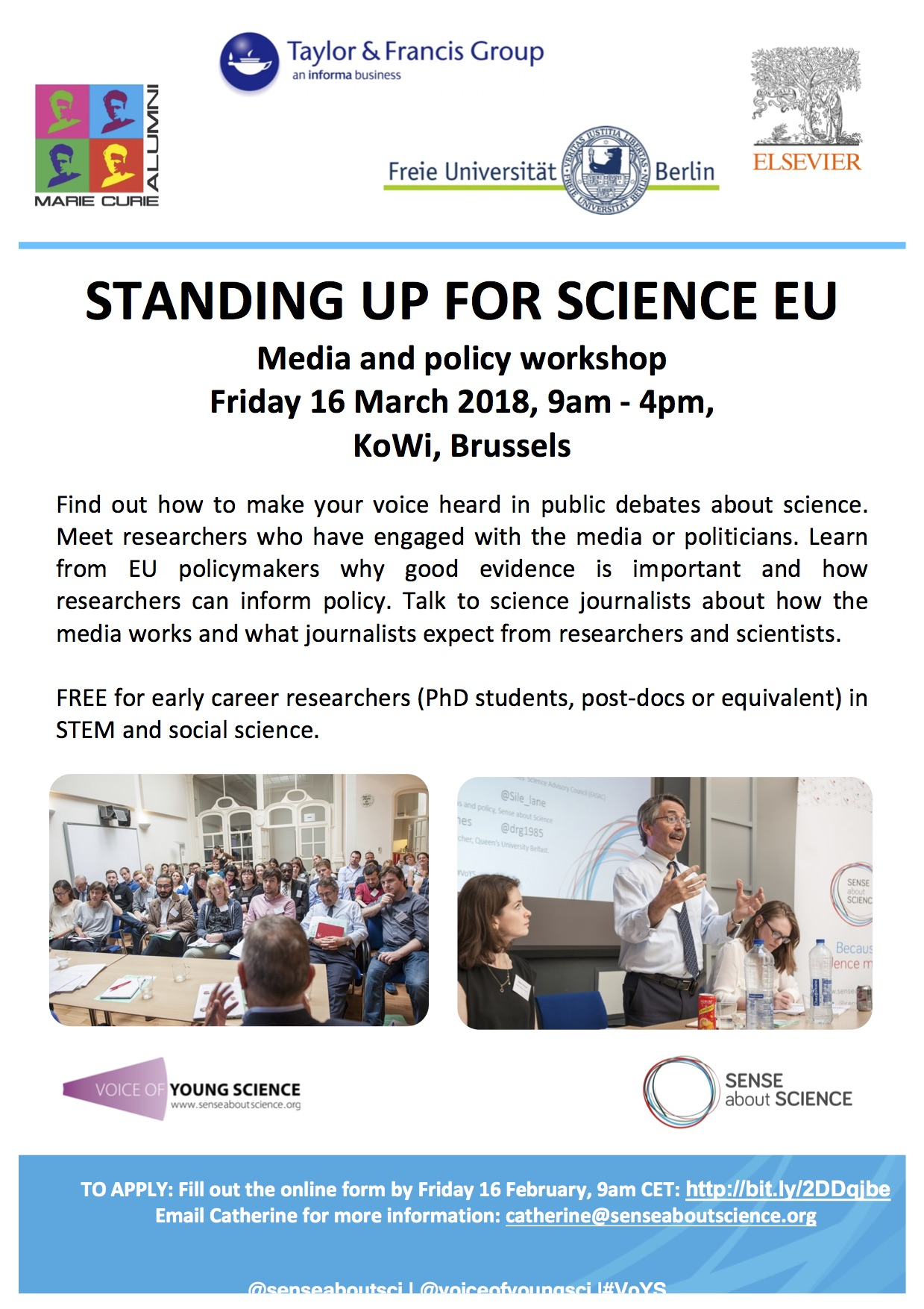 Standing up for Science EU workshop, Brussels, 16 March