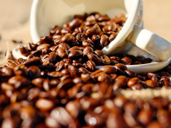White coffee cup spilling out coffee beans