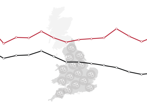 graphic of UK map with handcuffs over it and graph lines