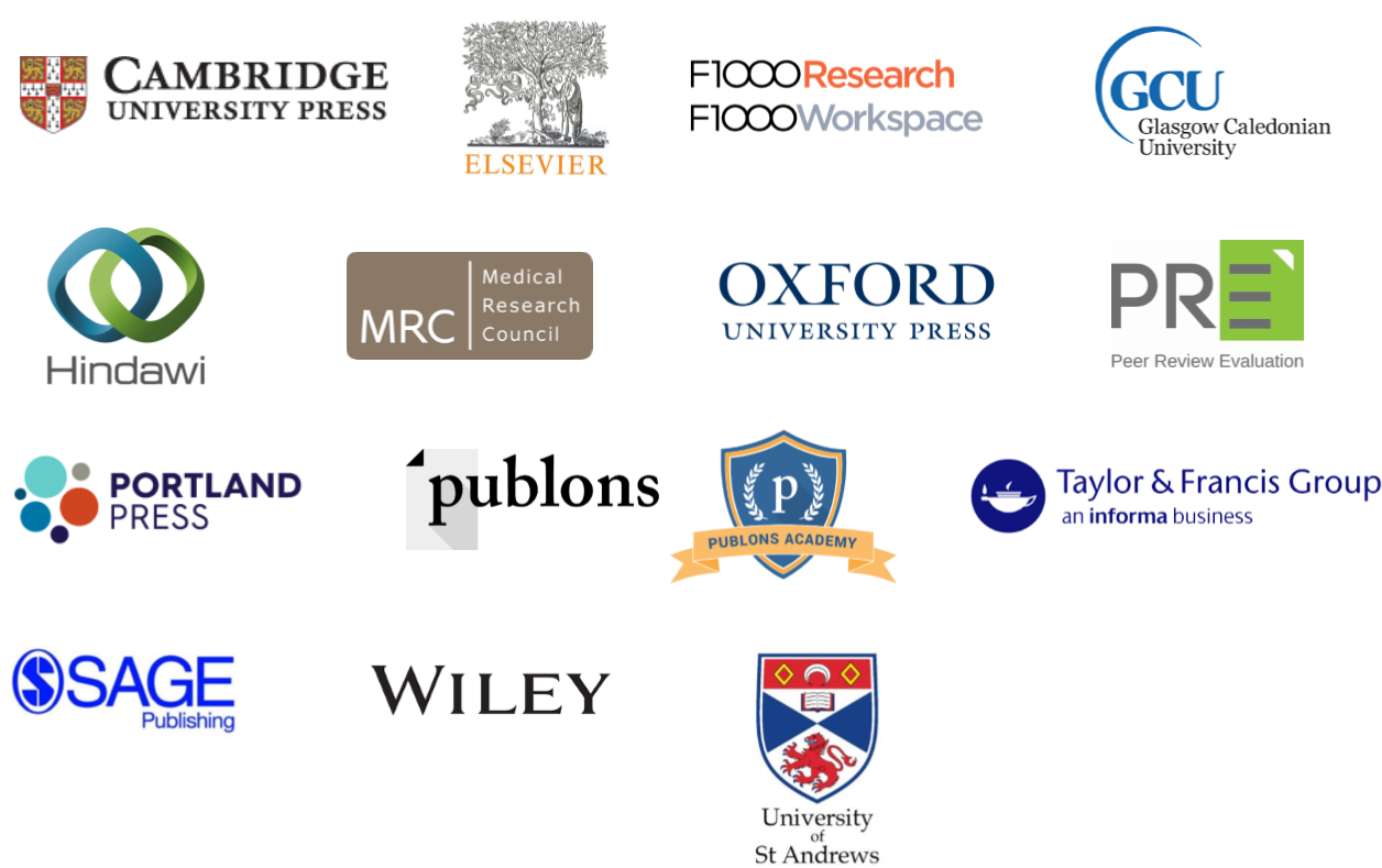 Association for Clinical Biochemistry, Cambridge University Press, Elsevier, F1000Research, Hindawi, MRC, Oxford University Press, PRE, Portland Press, Publons, Publons acadamy, Talyor & Francis, Sage, Wiley, University of St Andrews