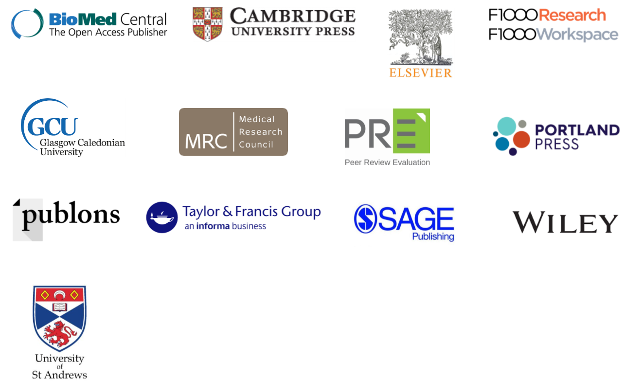Peer review partner logos 2017: BioMed Central, Cambridge University Press, Elsevier, F1000, Glasgow Caledonian University, MRC, PRE, Portland Press, publons, Taylor & Francis, Sage, Wiley, University of St Andrews
