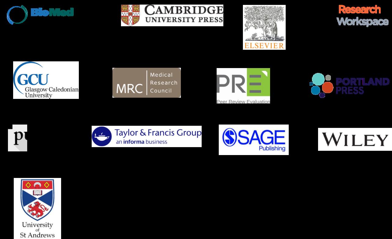 Peer review partner logos 2017: BioMed Central, Cambridge University Press, Elsevier, F1000, Glasgow Caledonian University, MRC, PRE, Portland Press, publons, Taylor & Francis, Sage, Wiley, University of St Andrews