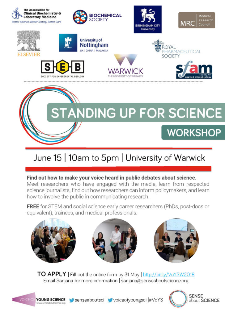 Standing up for Science workshops, University of Warwick, 15 June 2018 flyer