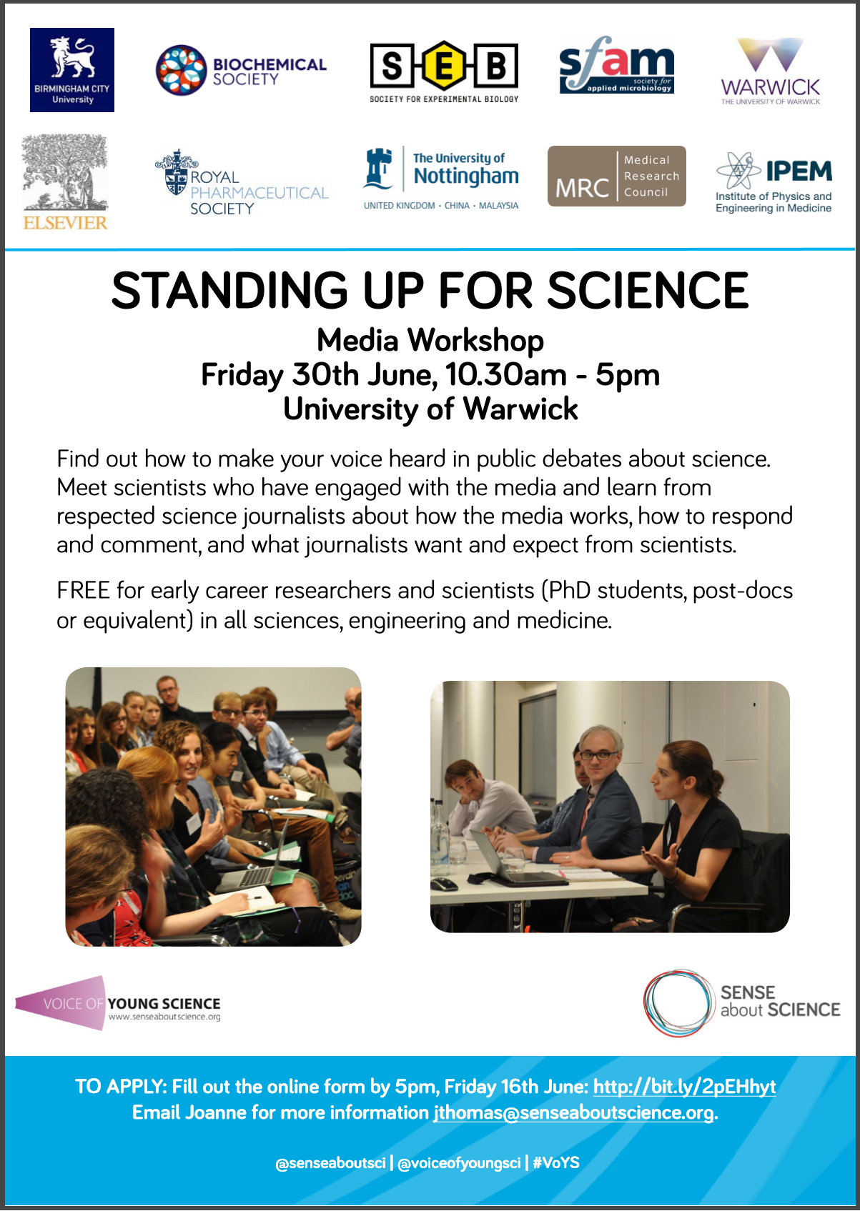 Standing up for Science workshop at University of Warwick, 30th June
