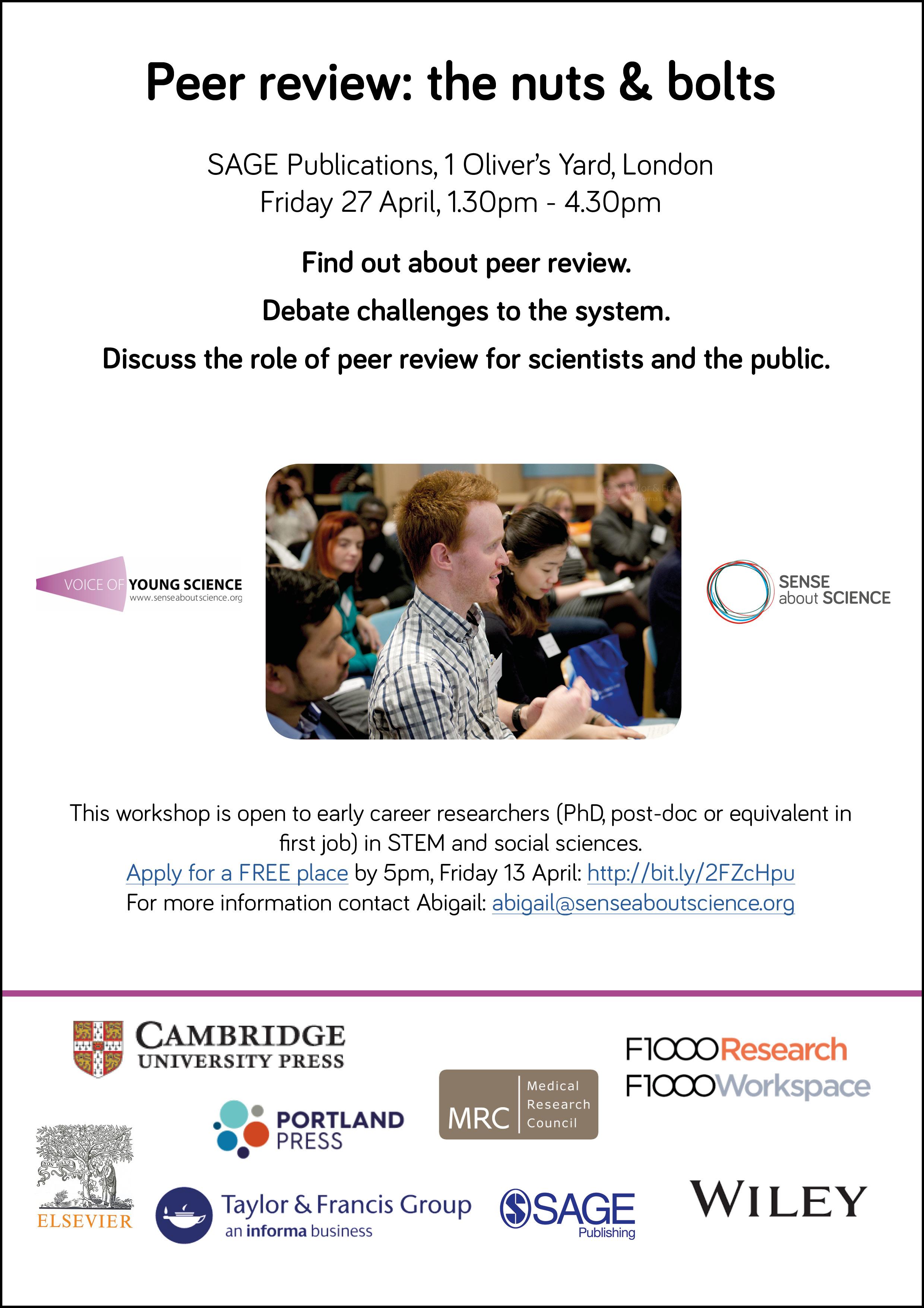 Peer review London workshop 27 April 2018