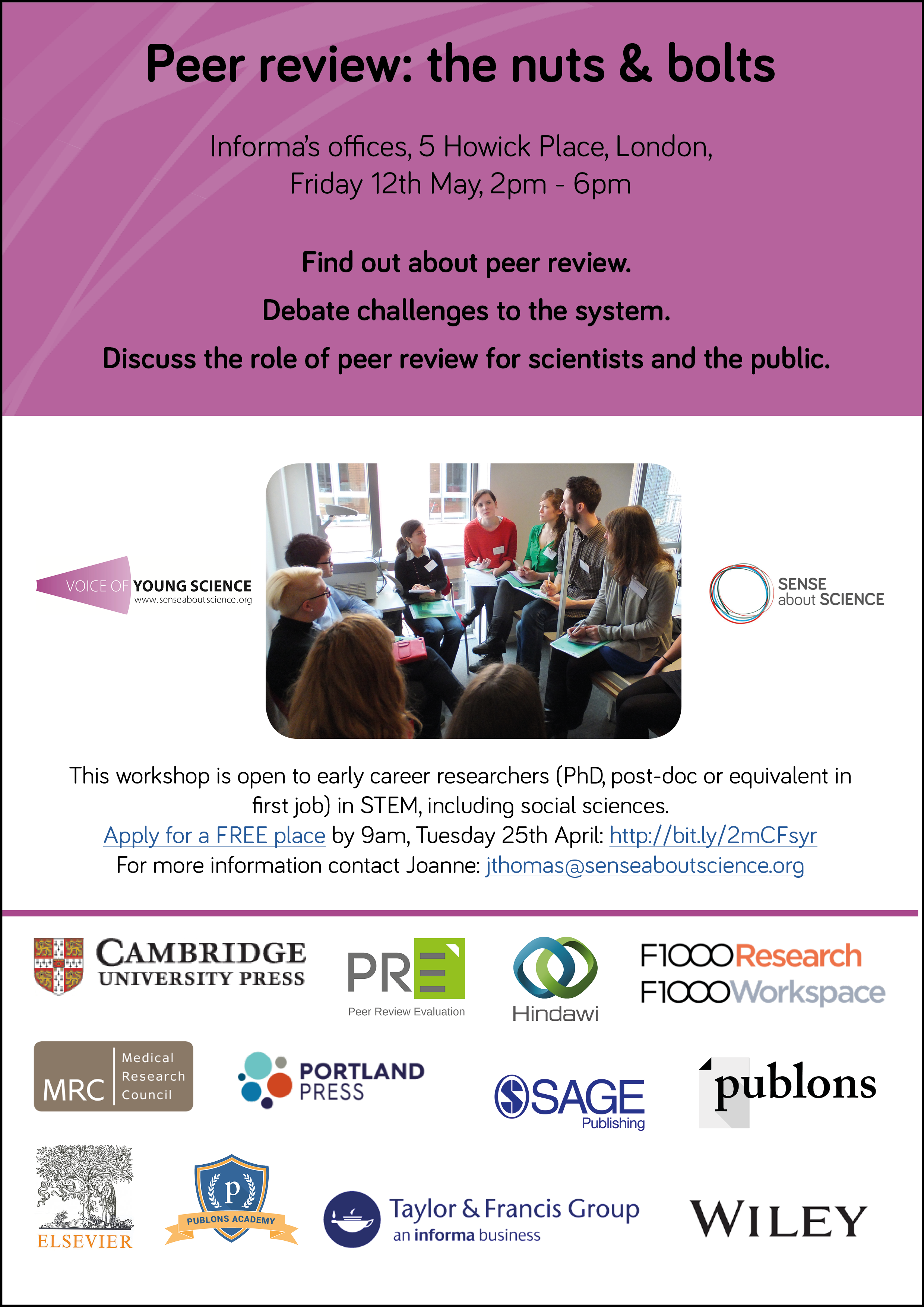 Peer Review workshop flyer 12th May