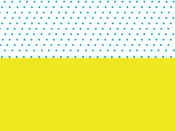 Graphic of blue dots on white background and solid yellow split horizontally.