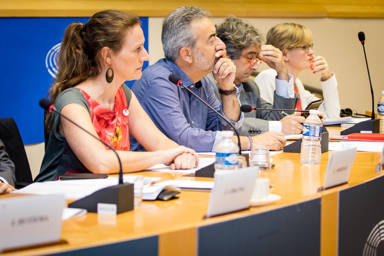 Sofie Vanthournout, Carlos Moedas, European commissioner for research, science and innovation • Marco Affronte, MEP, Greens/EFA • Julie Girling, MEP, ECR • Jan Huitema, MEP, ALDE • Ricardo Serrao Santos, MEP, S&D • Eva Kaili, MEP, S&D, chair of Science and Technology Options Assessment • Mairead McGuinness, MEP, EPP, vice-president of the European parliament