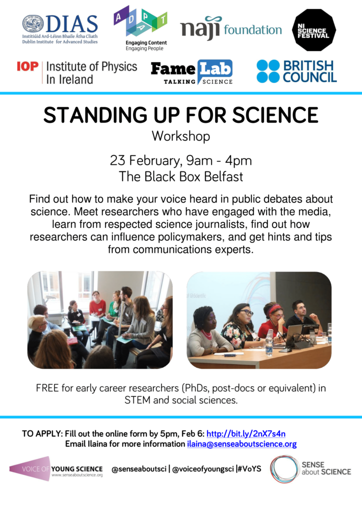 Standing up for Science workshop, 23 Feb, Black Box, Belfast