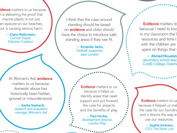 Speech bubbles in green blue and red highlighting 'evidence'